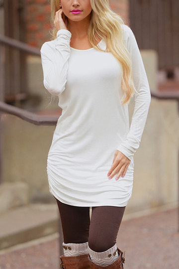 White Casual Round Neck Ruffled Dress
