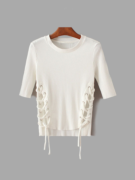 Casual White Crew Pescoço Side Lace-up Detalhes Bottoming Shirt
