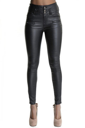 Fahion Black Leather Look Zip Up Pants with Pockets