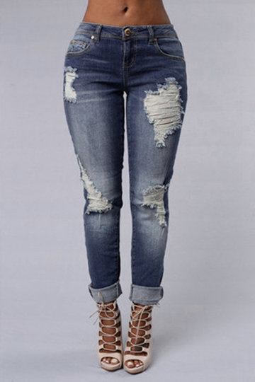 Fashion Skinny Shredded Jeans Ripped