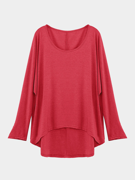 Red Loose Women Casual Blouse