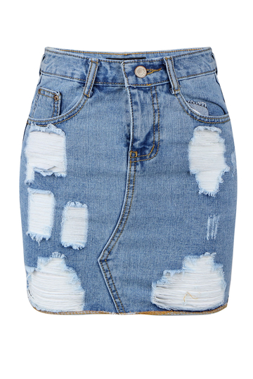 Wash Blue Denim Mini Rip Skirt