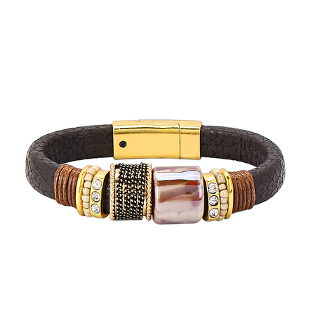 Bracciale in pelle marrone scuro magnete Buckle