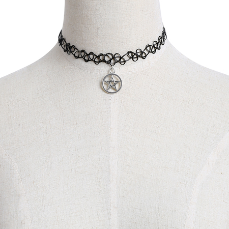 Crochet Hollow Out Necklace with Star Pendant