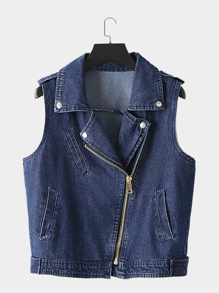 ???????????? Zipper ????????? ???????? Denim Gilet