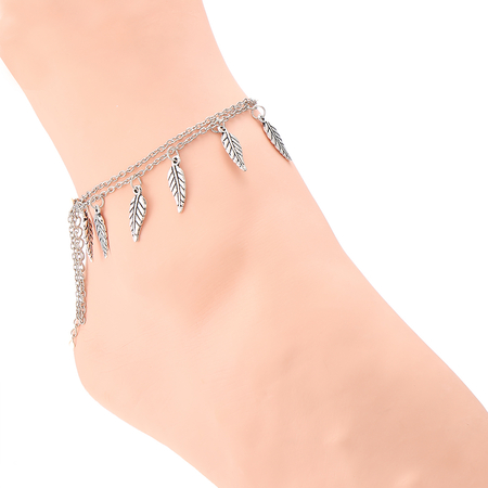Leaves Tassel Details Silver Plated Chain Anklet