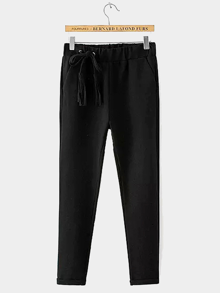Drawstring Tapered Trousers in Black