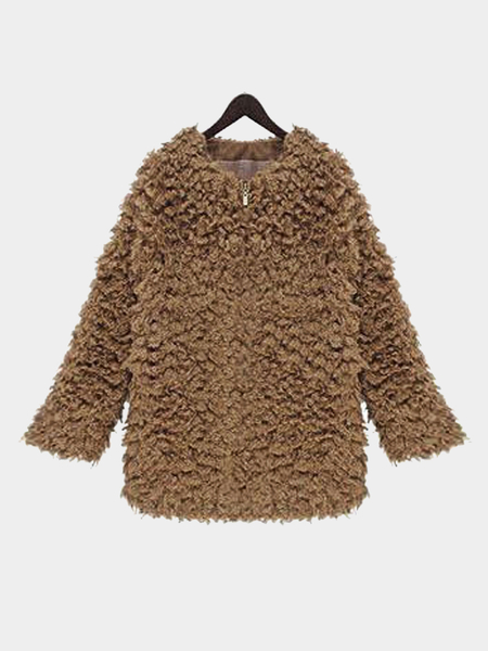 Light Tan Artificial Fur Coat