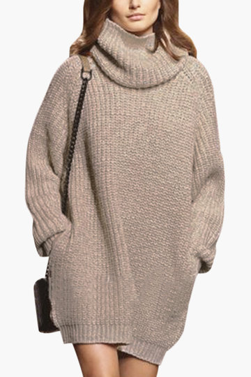 Apricot Fashion High Neck Sweater Com bolso lateral