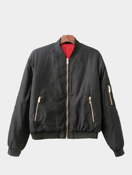 Black Military Quilted Simple Bomber Jacket