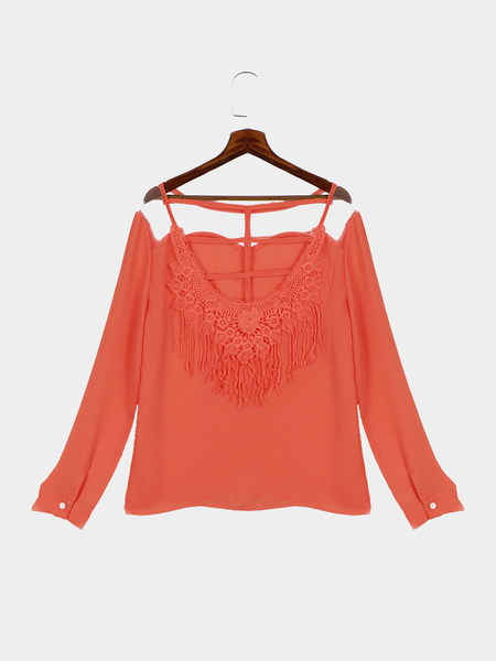 Orange Chiffon Lace Strappy Details Backless Blouse