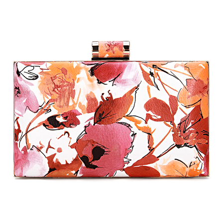 Wash Floral Peinture cuir-look Box Clutch Bag in Orange