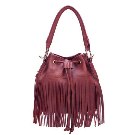 Red Drawstring Leather Look Bucket Bag With Tassels