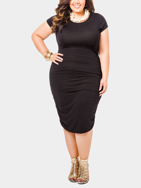 Plus Size Body-Conscious Midi Dress