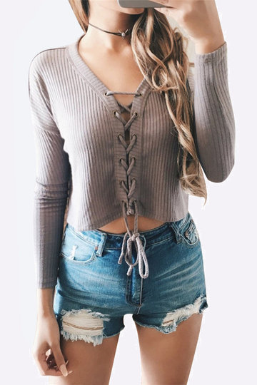 Casual Knitted Lace-up Front Crop Top in Grey
