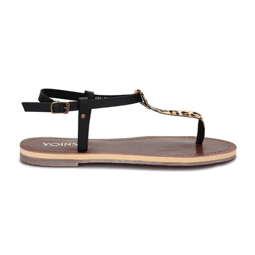 Leopard Pattern Strap T-bar Design Flat Sandals