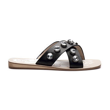 Black Artificial Diamond Embellished Cross Strap Front Shoe Sole Print Slippers