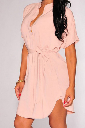 Pink Plunge Loose Curved Hem Mini Dress