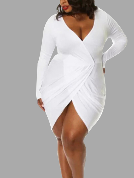 Blanc Taille Plus Plunge Neck Mini-robe Wrap