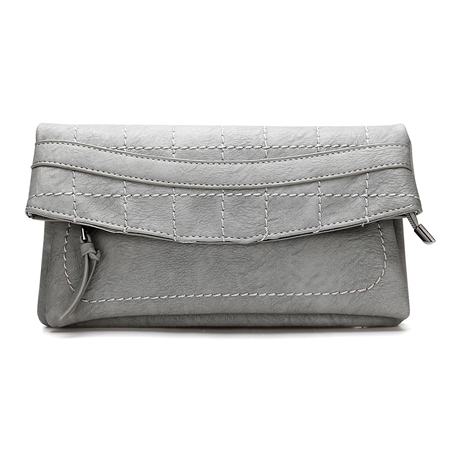 Cuir gris-look rabattable Pochette avec Allover coutures
