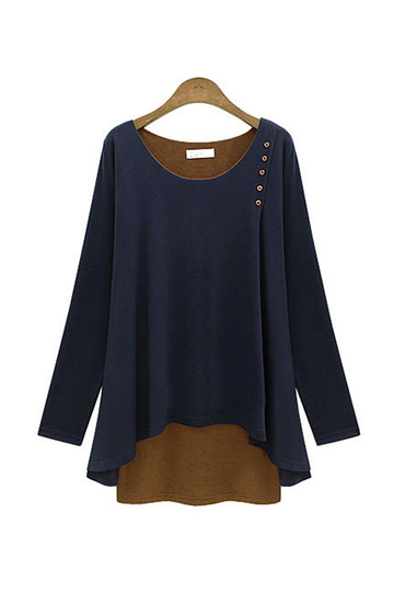 Navy Layered Plus Size Long Sleeve Top