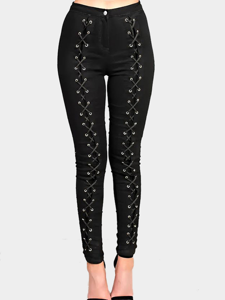 Fashion Black Lace Up High Waisted Pants with Zipper Fastening