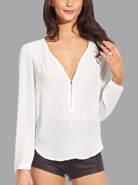 White Zipper Front Chiffon Blouse