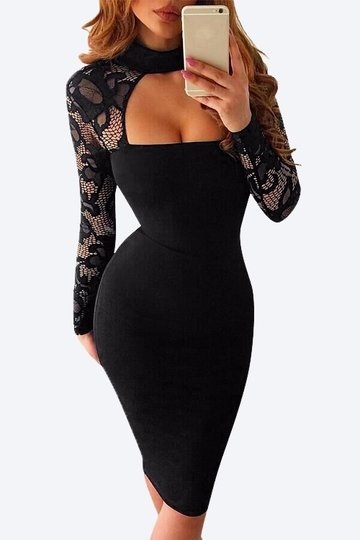 Black Lace manches longues haute Neck Bodycon robe