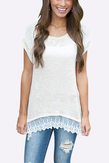 Lace splicing Hem T-shirt