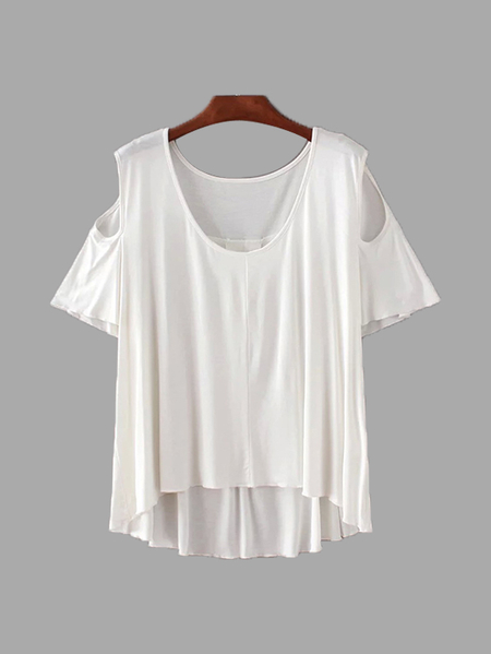 V-neck Cold Shoulder High Low Hem T-shirt in White