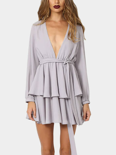 Grey Sexy V-neck Waist Tie Layered Long Sleeves Mini Dress
