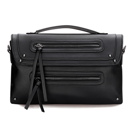 Black Leather-look Front Zip Top Handle Bag avec Rivet Détail