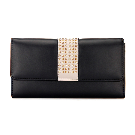Studded Foldover Leather-look Long Purse in Black