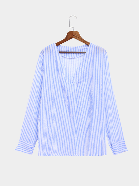 Blue Long Sleeves V-neck Striped Casual Shirt
