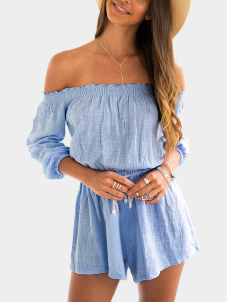 Off Shoulder Drawstring Waist Playsuit