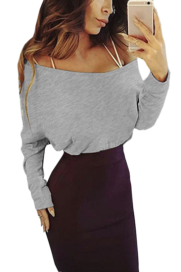 Grey Round Neck Long Sleeves Causal T-shirt