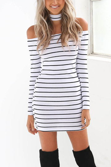 Stripe Motif Halter Encolure Mini-robe Halter
