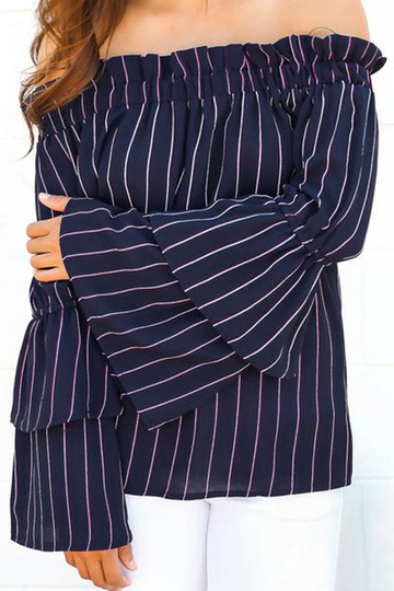 Fashion Stripe Pattern Off Shoulder Long Sleeves Blouse