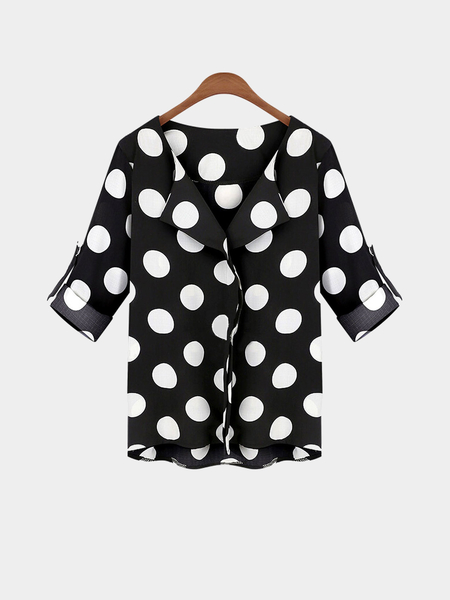 Plus Size Wave Point Pattern Blouse with Adjustable Sleeve