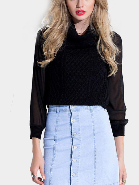 Black Turtleneck Jumper with Chiffon Sleeve