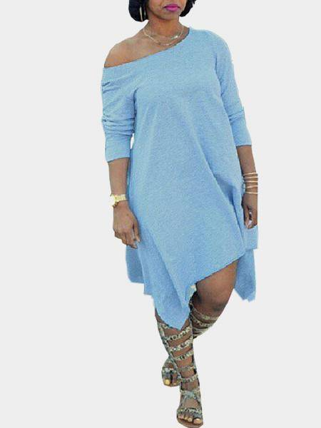 Plus Size Light Blue One Shoulder Dress with Irregular Hem
