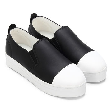 Black Round Toe Slip-on Loafers