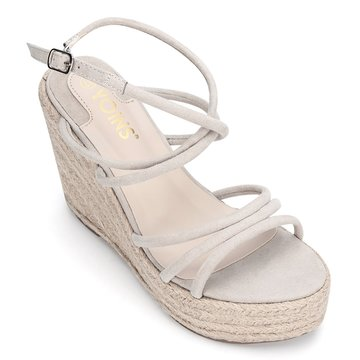 Apricot Suede Look Crossing Straps Wedge Sandals