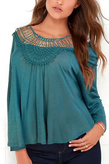 Invisível Verde Loose Hollow Out Blusa Neck Rodada