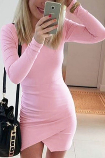 Light Pink Bodycon Fit Front Wrapped Mini Dress