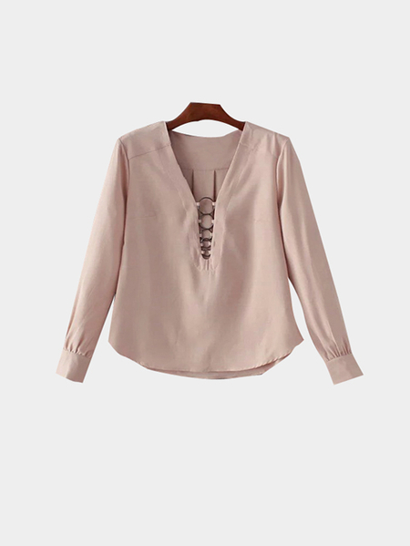 Buy V-neck Curved Hem Long Sleeves Shirt Metal Details