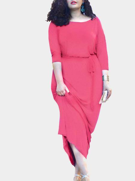 Plus Size 1/2 Lunghezza Maniche coulisse in vita Maxi Dress in Pink