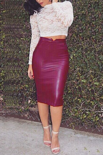 Burgundy Leather-look Velvet Pencil Midi Skirt