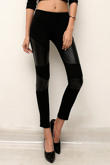 Black Artificial Leather Details Fashion Leggings