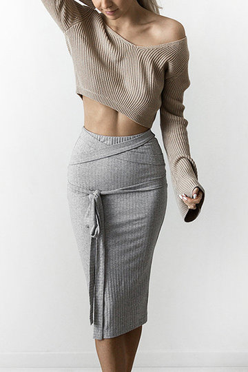 Sexy V-neck Knitted Long Sleeves Jumper